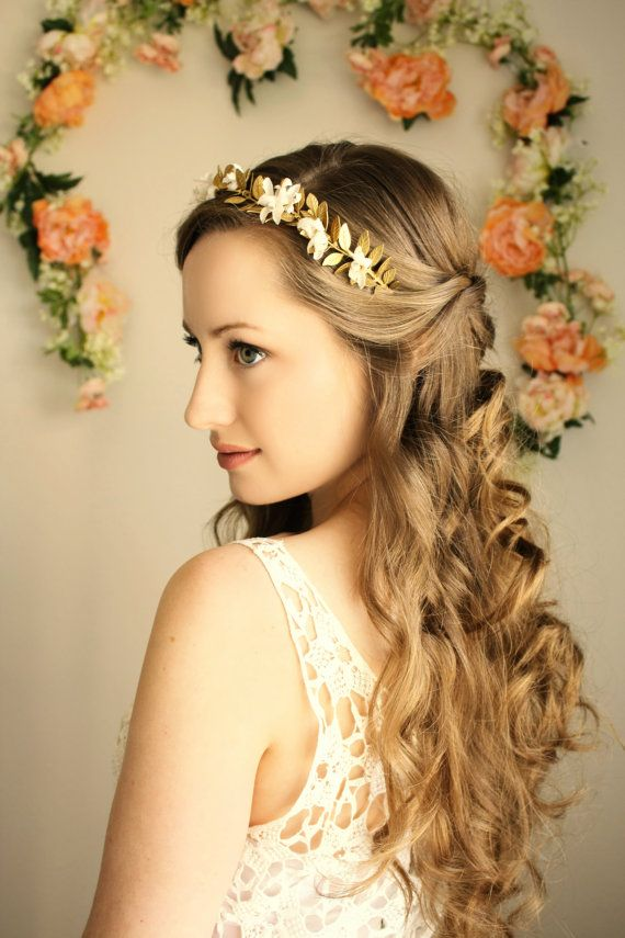 Goddess Flower Crown Gold Leaf Headpiece Bridal Tiara Gold Tiara