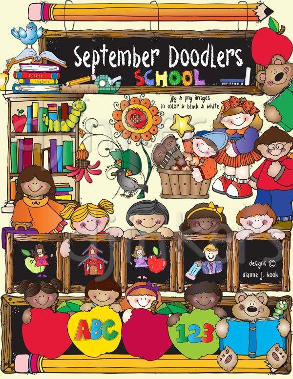 Cute Kids Clip Art For Back To School September Smiles By Dj Inkers Clip Art School Kids Fall Clip Art Clip Art