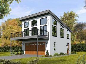 Modern Carriage House Plan With Sun De   68461VR Thumb   01