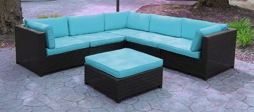 Lovely Black Resin Wicker Outdoor Furniture Sectional Sofa Set   Blue Cushions CC  Outdoor Living Http: