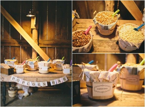 Barn Weddings Make Your Own Popcorn Bar Is A Cheap Tasty Choice For Late