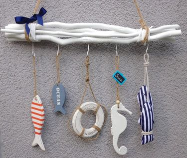 Maritime Wohnaccessoires maritime fensterdeko weiße zweige mit haken und 5 tollen deko