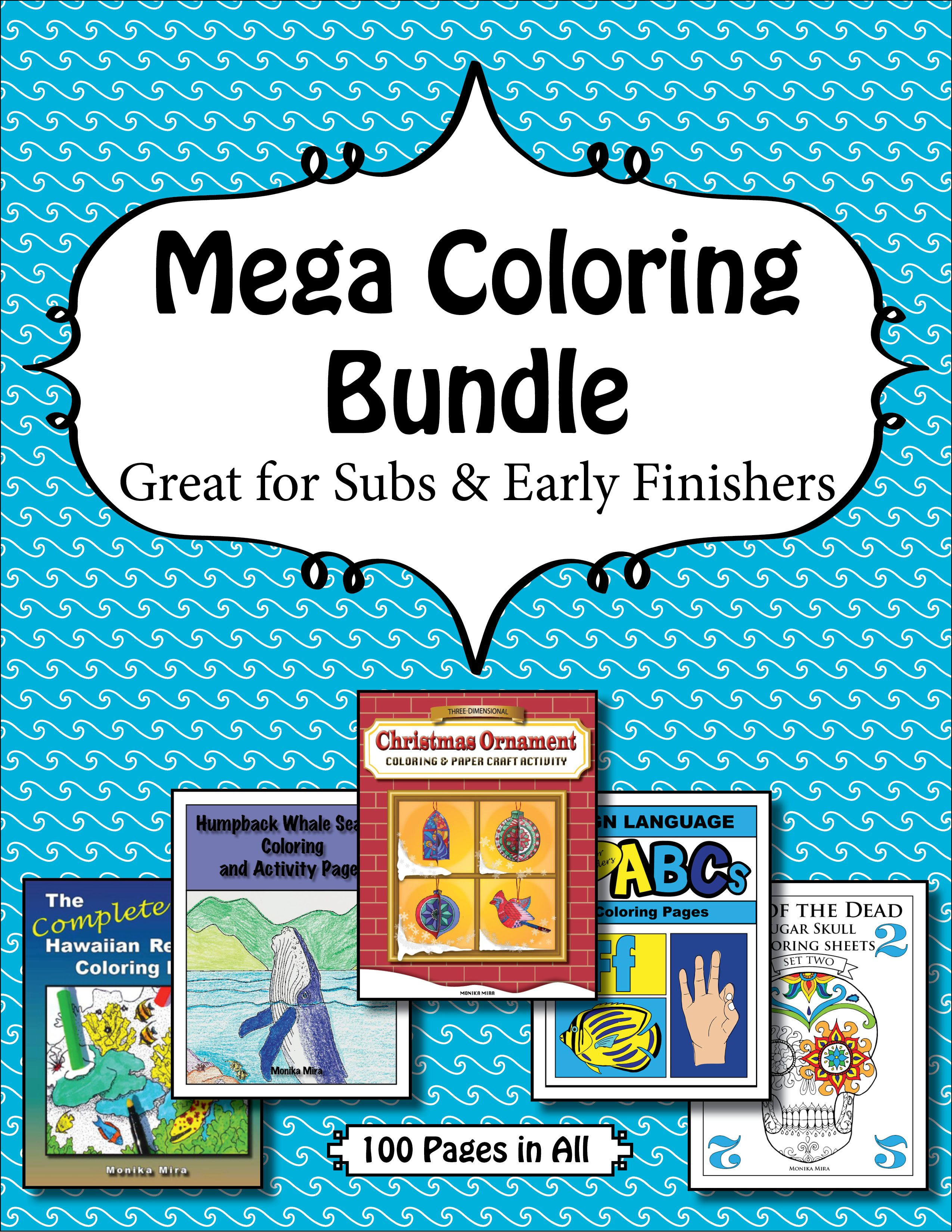 Mega Coloring Bundle Includes Sugar Skulls, Humpback Whale Behaviors, 3d  Paper Christmas Ornament Craft