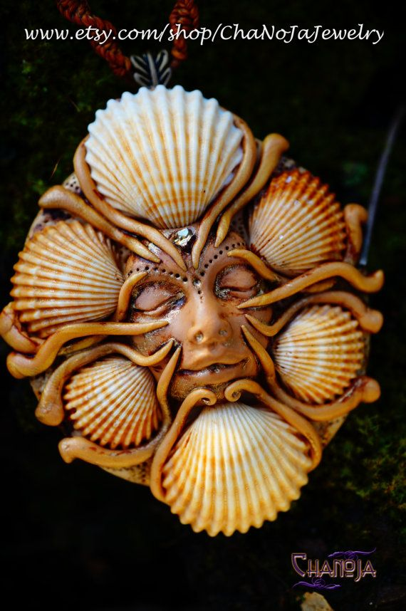 Medusa of the Sea 3 Pendant-mermaid seashells female energy golden magic ocean themed sandy shore goddess jewelry sacred space pagan wiccan   by ChaNoJaJewelry