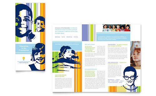 Learning Center \ Elementary School - Brochure Template Design - free tri fold brochure templates word