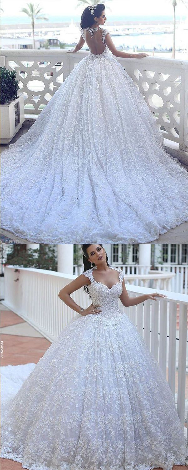 Ball gown lace open back scoop cap sleeves chapel train beading