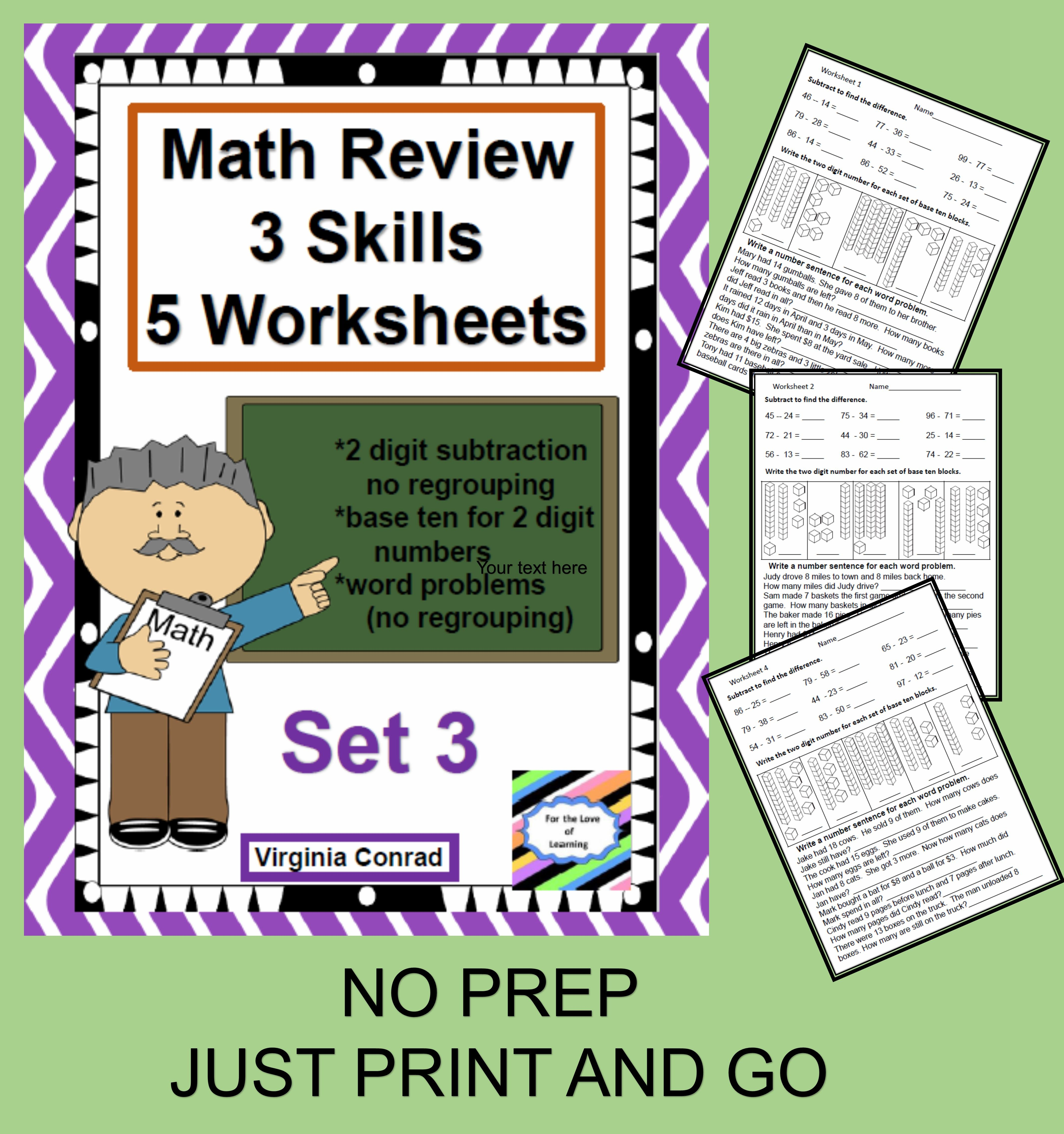 Math Review Worksheets 3 Skills For 5 Days Set 3
