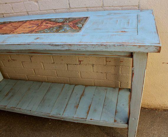 Wood Table Shabby Beach Cottage Sofa Or By Honeystreasures
