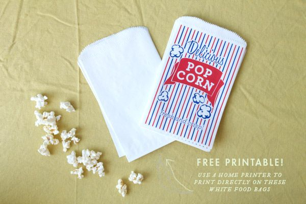 Movie Night with Printable Popcorn Bags To create these popcorn