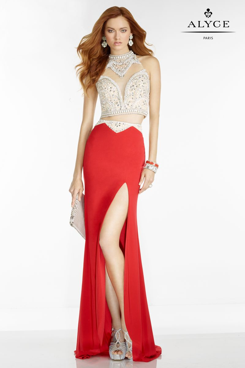 Alyce Paris red two piece prom dress, style #6563 http://alyceparis ...