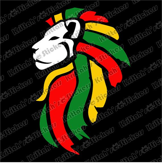 Rasta Lion Head with White Face Vinyl Decal 4 x by ...