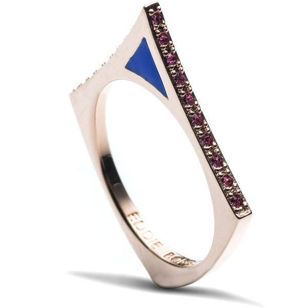 Eddie Borgo Small Triangle Touareg Ring In Blue ($75) ❤ liked on Polyvore featuring jewelry, rings, band rings, blue rings, drusy ring, drusy jewelry y druzy jewelry