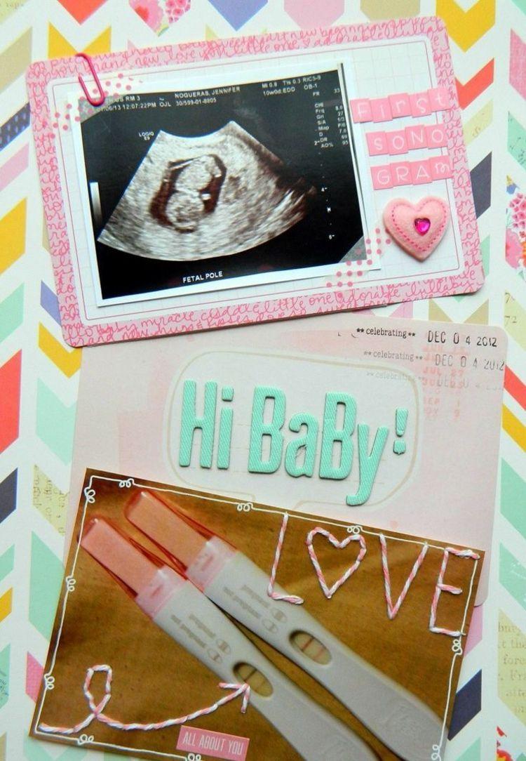 Scrapbooking Ideen Schwangerschaft Erinnerung Baby Ultraschall Foto