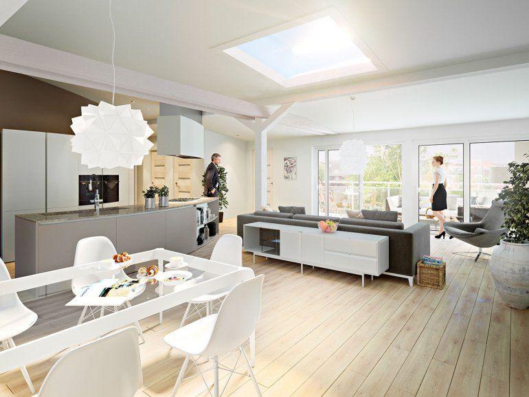 3d Innenvisualisierungen Einer Dachgeschosswohnung In Kiel Dachgeschosswohnung Wohnung Architektur Visualisierung