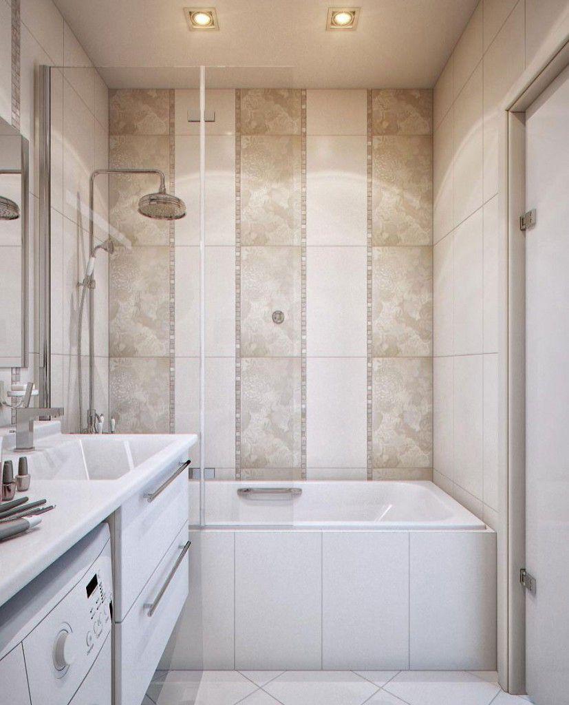 Small Bathroom With Bathtub On A Decorative Tile Interior Design ...