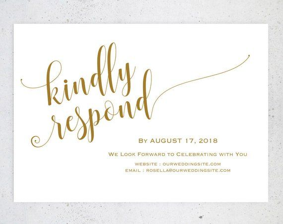 Gold RSVP postcards templates, Wedding rsvp cards, rsvp online