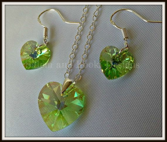 Green Swarovski Jewellery Set, Peridot Colour Heart Pendent, Green Crystal Earrings, Bridal Wedding Jewelry, Gift For Her, Gift Under 25,