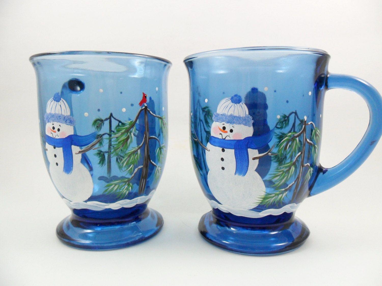 Snowman Coffee Mug Cobalt Blue Cup Hand by PaintingByElaine
