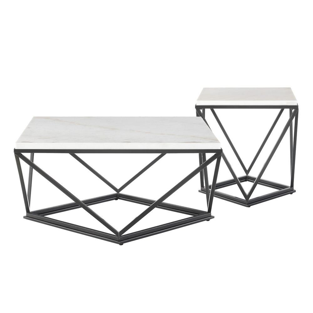 Picket House Furnishings Conner Black Marble Occasional Table Set