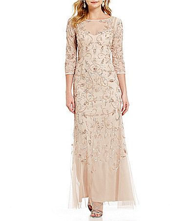 Adrianna Papell 34 Sleeve Beaded Floral Scroll Gown #Dillards ...