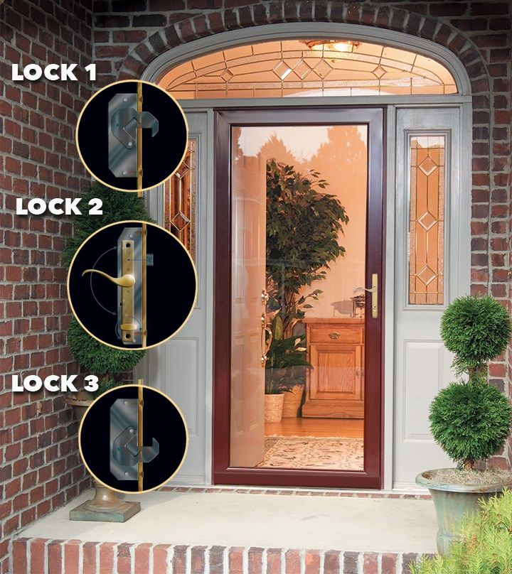 This Multi Point Lock Secures The Door In Three Places Hooks At The Top And Bottom Of The Door Frame Combine With The Live Bolt To Storm Door Doors Door Frame