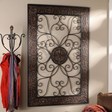 Embossed Scroll Plaque Wrought Iron Wall Decor Metal Wall Decor