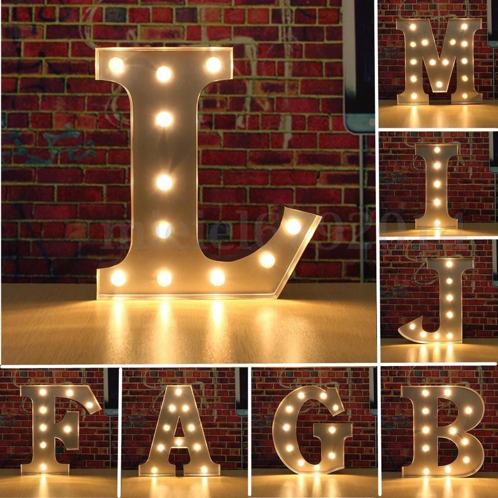 Alphabet Letter Lights Led Light Up White Wooden Letters Standing Hanging Uk Unbranded With Images Light Letters Lighted Marquee Letters Led Lighting Diy