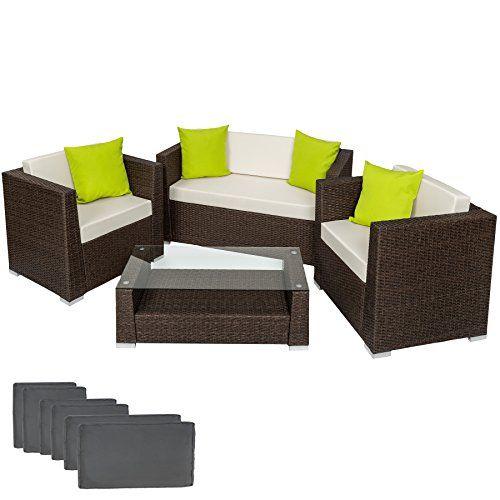 Tectake Luxury Rattan Aluminium Garden Furniture Sofa Set Outdoor Wicker With Glass Table Furniture Sofa Set Aluminium Garden Furniture Patio Furniture Pillows