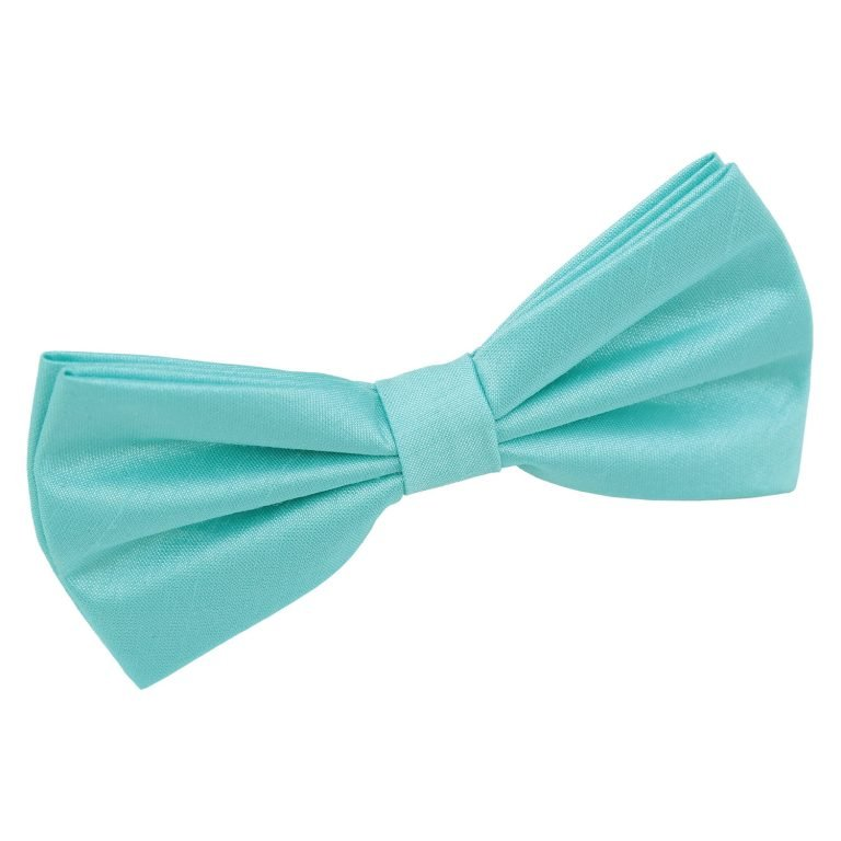 Teal Boys Elasticated Tie Satin Plain Solid Pre-Tied Necktie by DQT