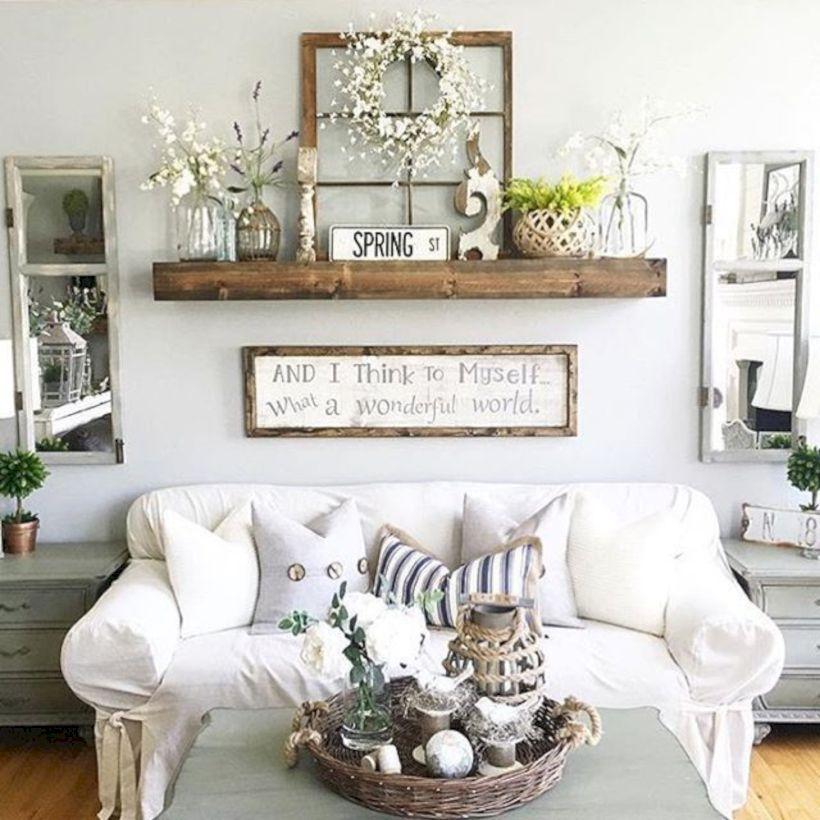 40 Rustic Farmhouse Living Room Decoration Ideas Bits  Pieces for