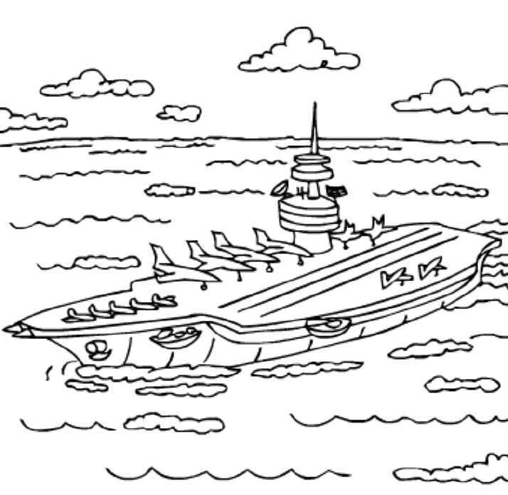 Aircraft Carrier Coloring Pages For Kids