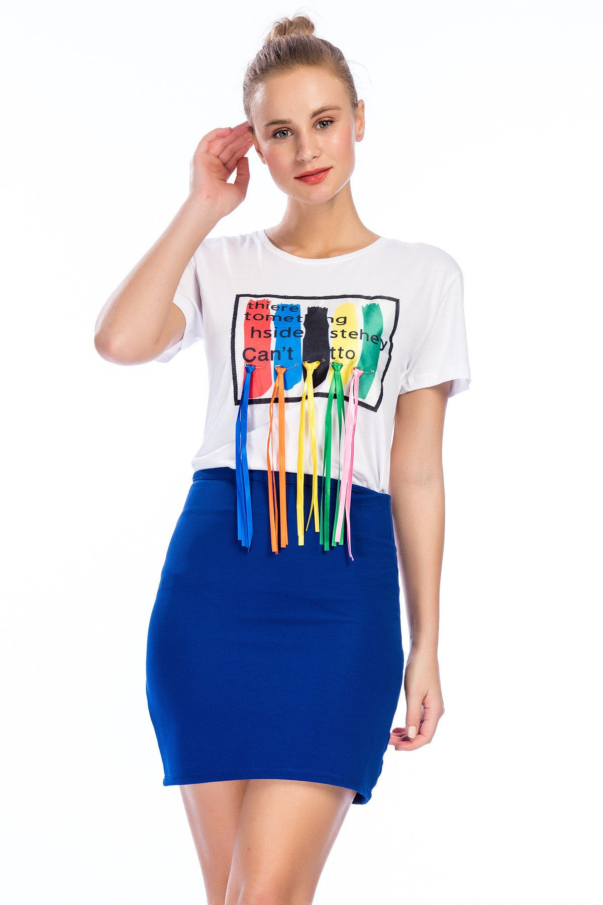 2020 Bayan Kombinleri Saks Mavi Kisa Kalem Etek Beyaz Kisa Kol Onu Puskullu Tisort Moda Stilleri Etek Moda