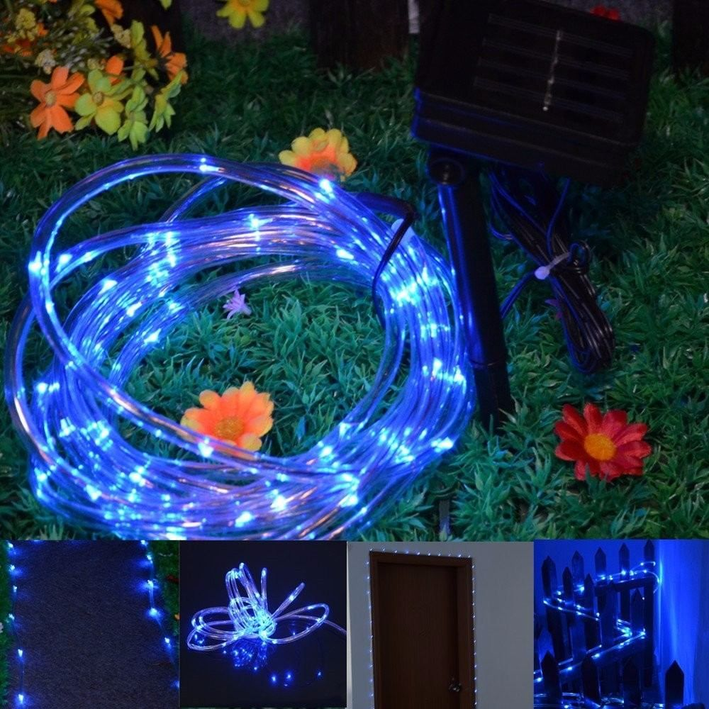 Tubo de 50 luces led solares p interior o exterior for Luces de jardin exterior