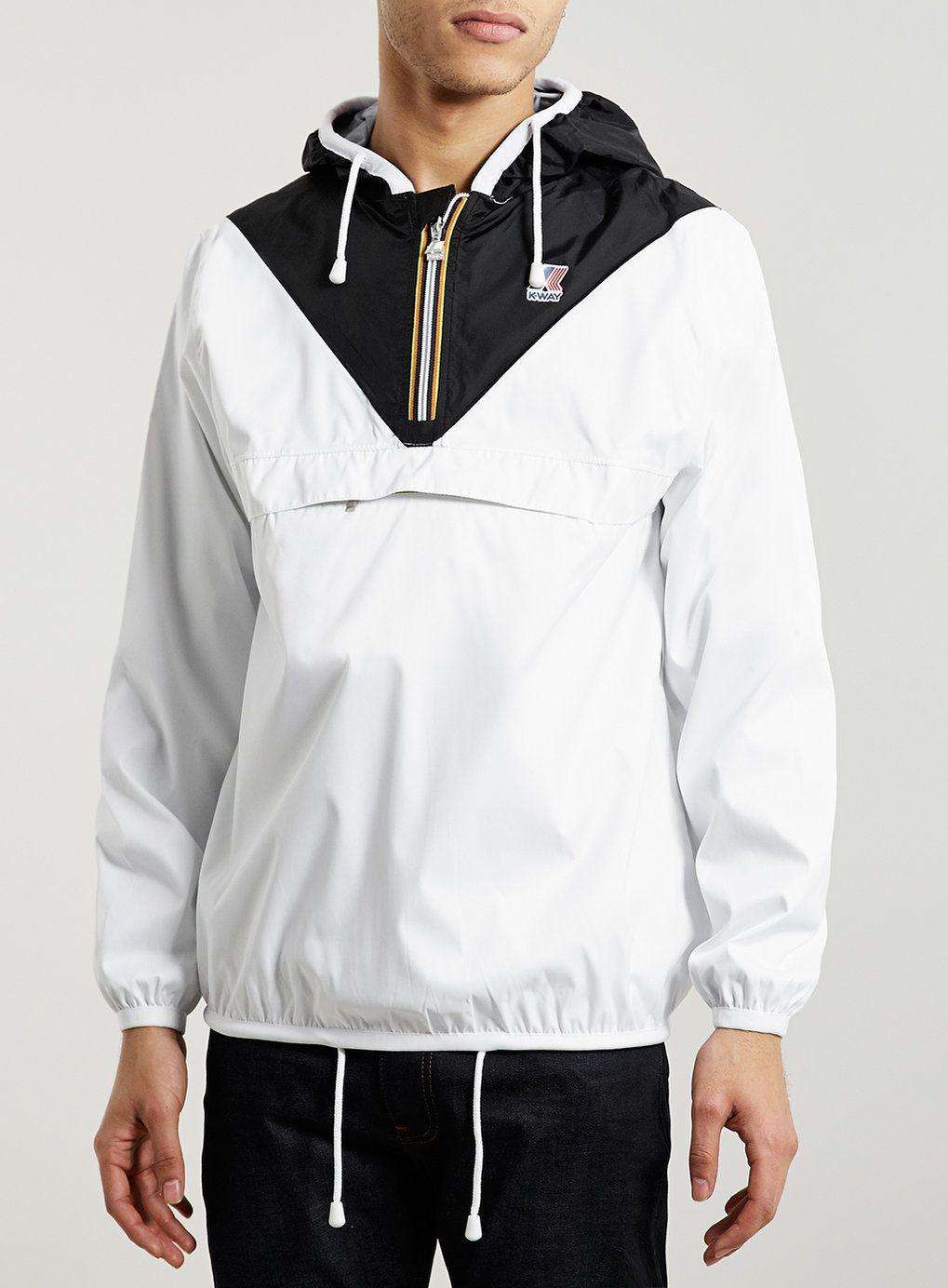 K Way White Overhead Jacket Topman 130 Zips Into Fanny Pack