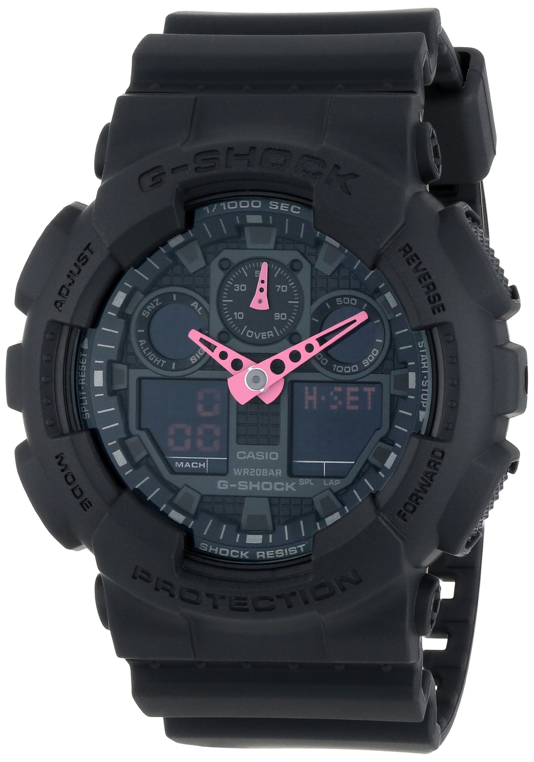 63dcb18cf39 G-Shock GA-100 Neon Highlights Trending Series Men s Luxury Watch -  Black Pink   One Size - OMG
