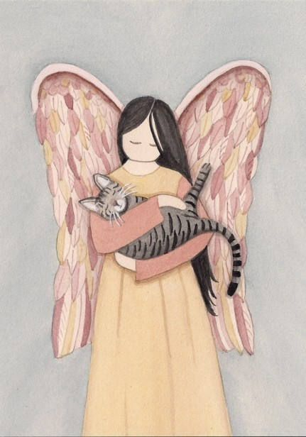 This is a professional, archival quality print by artist Cindi Lynch. This work for sale is printed from an original watercolor and hand signed on the front by the artist. It measures 5 x 7. Cindi Lynch, an award-winning and widely displayed artist, is known for her highly detailed work. We have other angel / animal prints for sale. We gladly combine shipping.