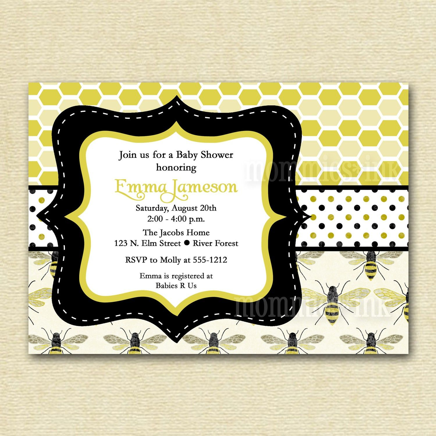 Items Similar To Honeybee Baby Shower Invitation  Mommy To