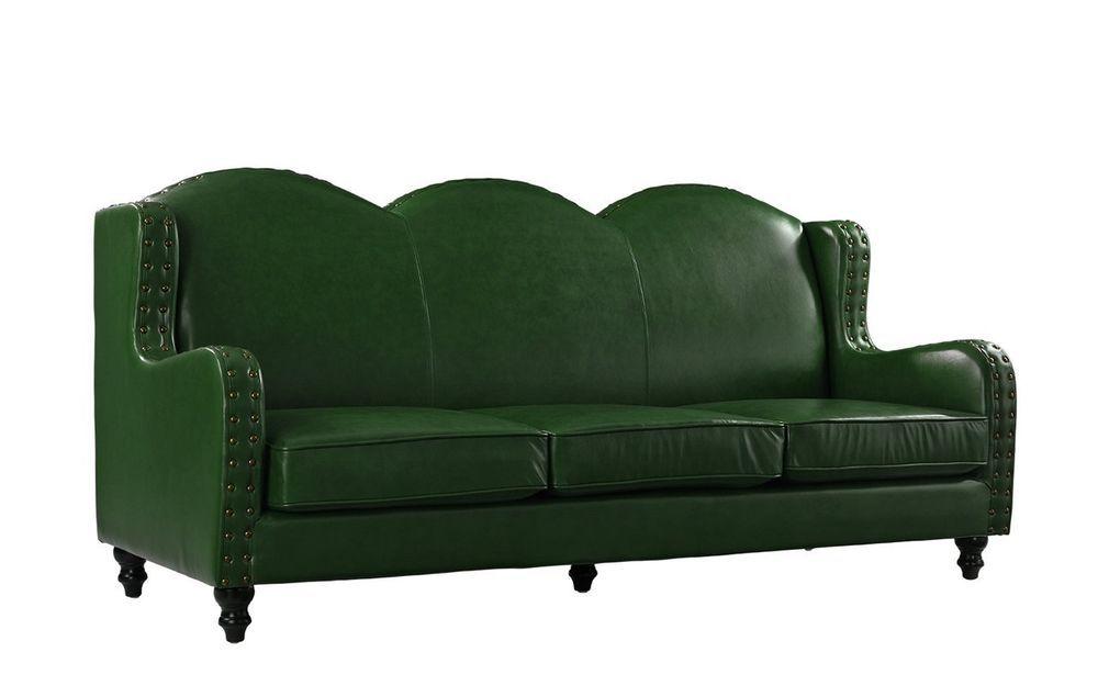 Elegant Art Deco Style Top Grain Green Leather Sofa Couch 83 L X
