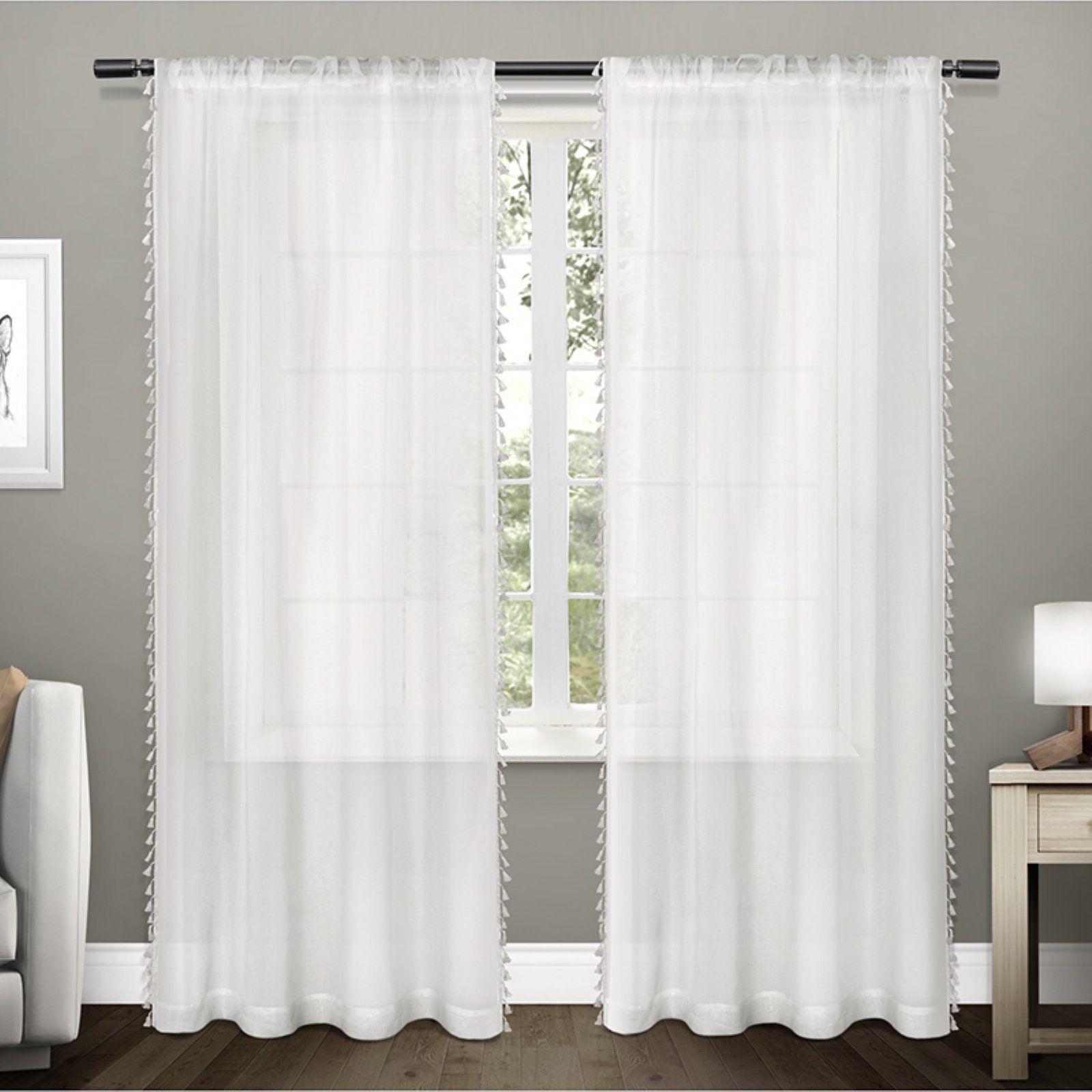 Exclusive Home Tassels Textured Sheer Curtain Panel Pair Seafoam