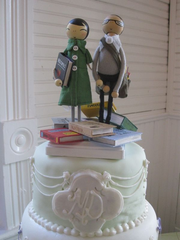 Bookish wedding cake toppers