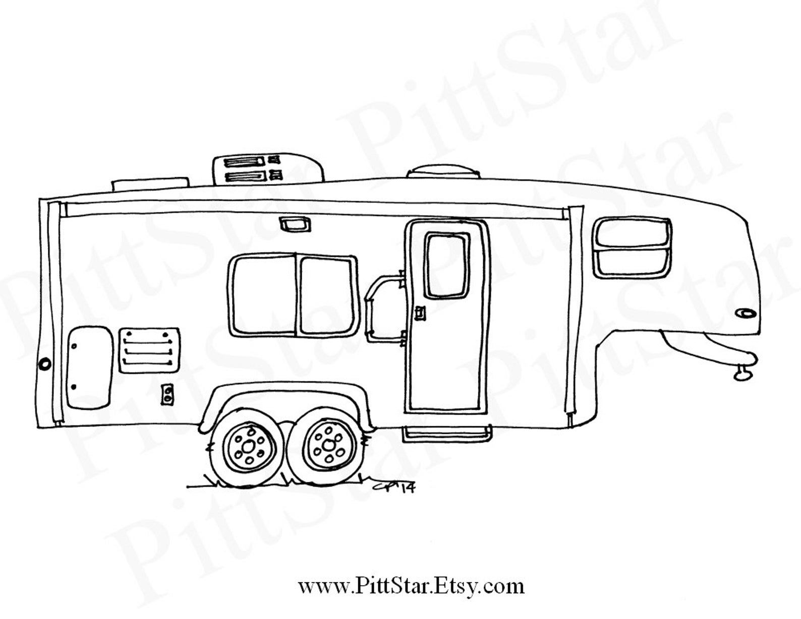 Instant Download Fifth Wheel Travel Trailer Printable  Etsy in