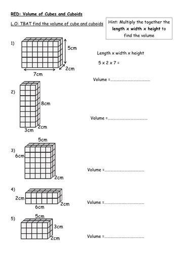 Finding The Volume Of A Cuboid Rag Volume Math Volume Worksheets Math Methods