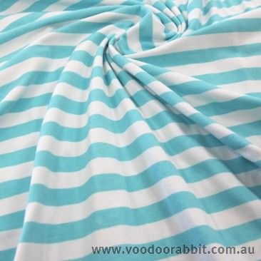 Aqua Blue Half Inch Stripe Cotton Jersey Knit by Riley Blake (Aussie retailer)