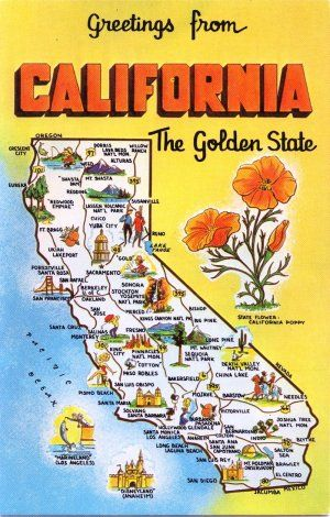 Greetings from ca golden state social studies pinterest golden vintage postcard not used california state map slick finish golden state m4hsunfo Gallery