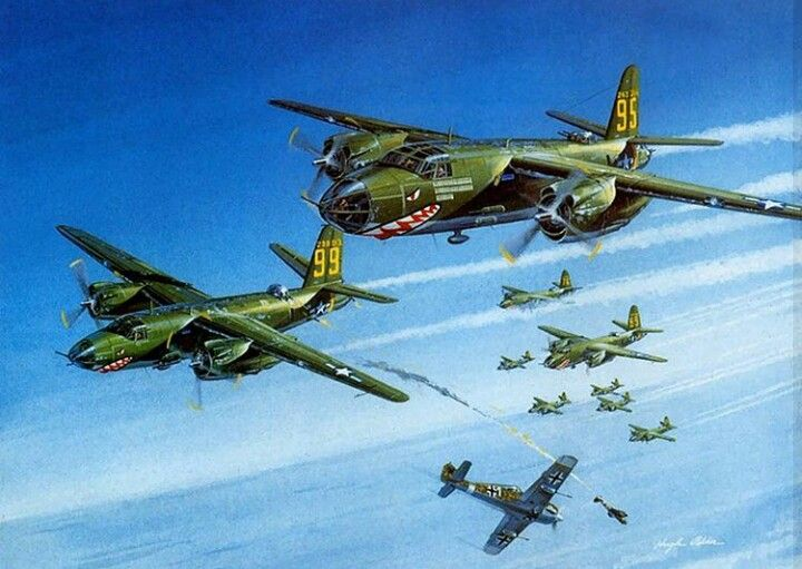 B-26 MAUDER'S AND A SHOT DOWN FOCKE WULF FW-190