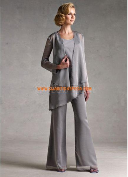 Completo Elegante Abiti Pantaloni Di Chiffon Abito Da Cerimonia