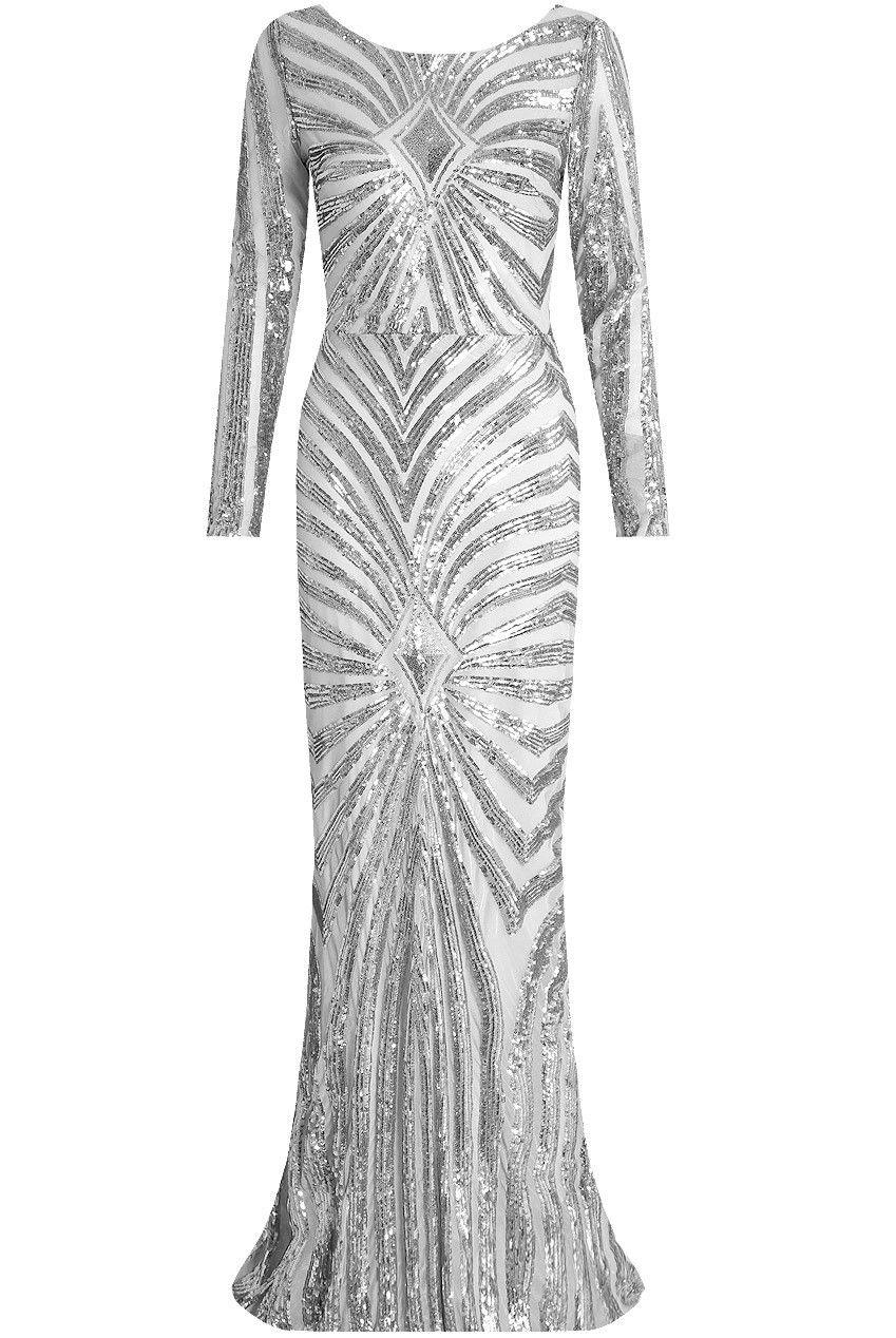 a852a6bd89f6 Lucy Wang langærmet paillet kjole sølv