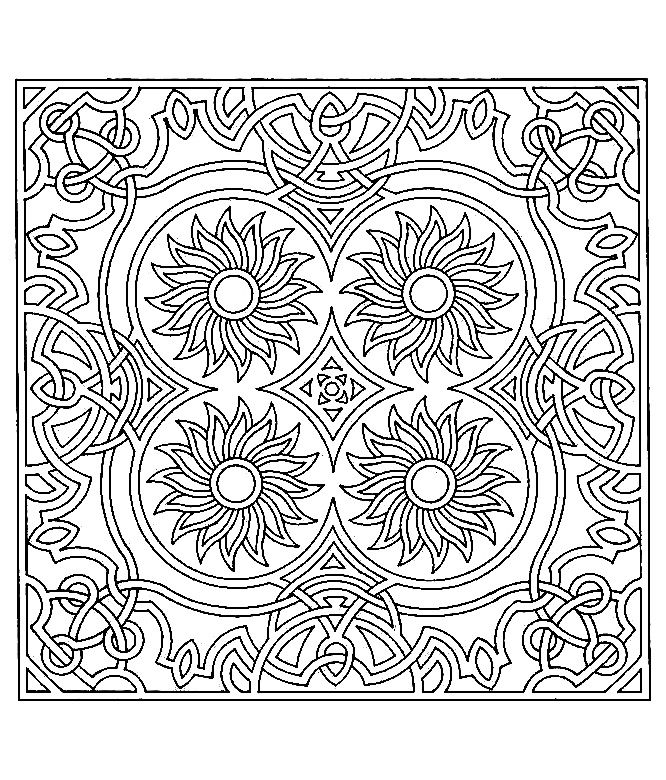 Free coloring page «coloring-difficult-symmetry-tournesols» Adult - new difficult pattern coloring pages