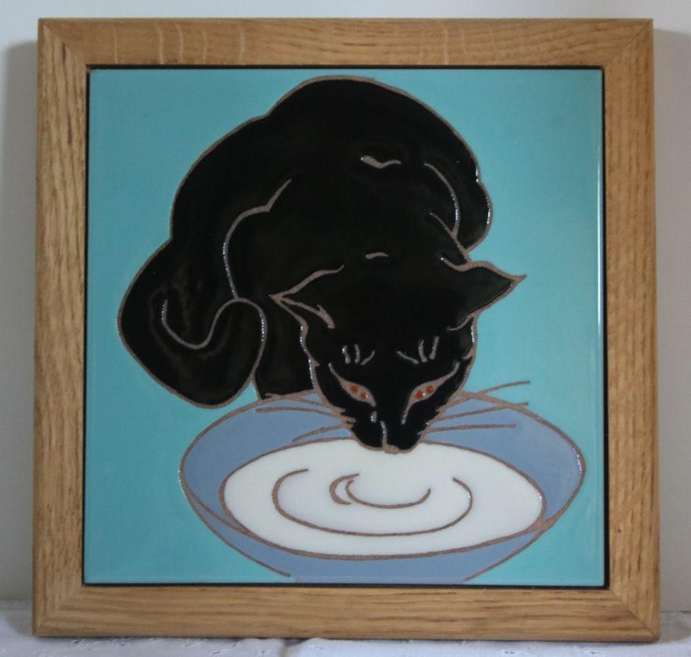 Framed Black Cat Tile Cat Drinking Milk Beautiful 8x8 Cermic Tile Wood Frame
