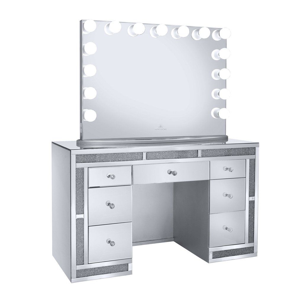 Melanie Premium Mirrored Vanity Table Impressions Vanity Co In 2021 Mirrored Vanity Table Vanity Table Vanity Mirror
